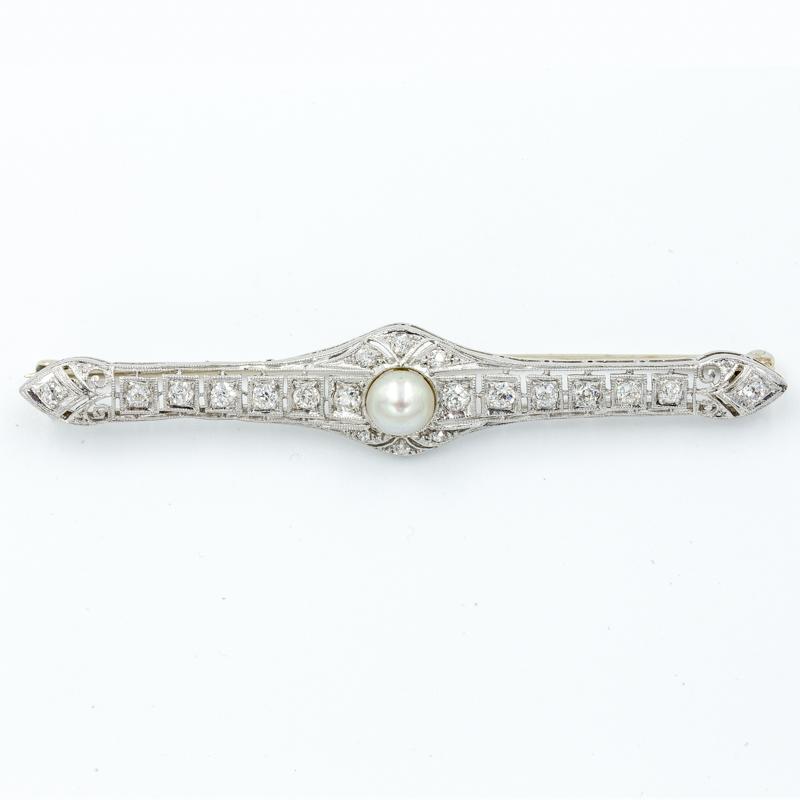 diamond bar pin with pearl
