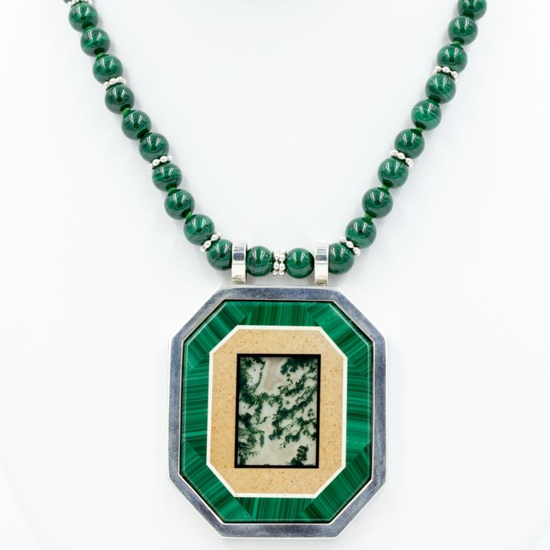 malachite intarsia necklace