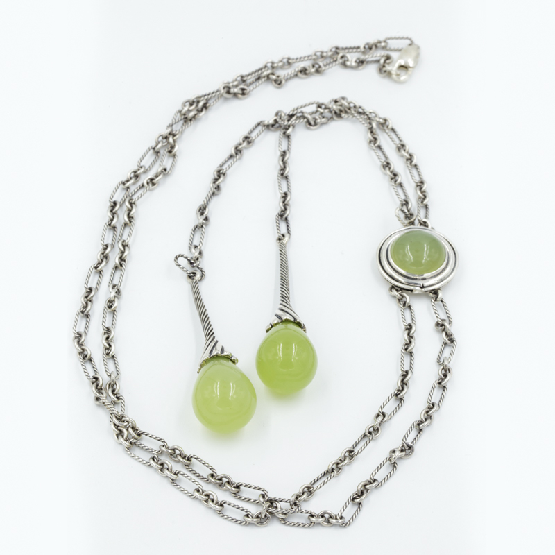 jade and silver lariat necklace
