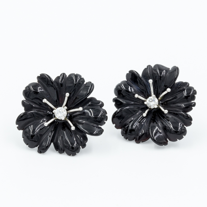 black onyx flower earrings