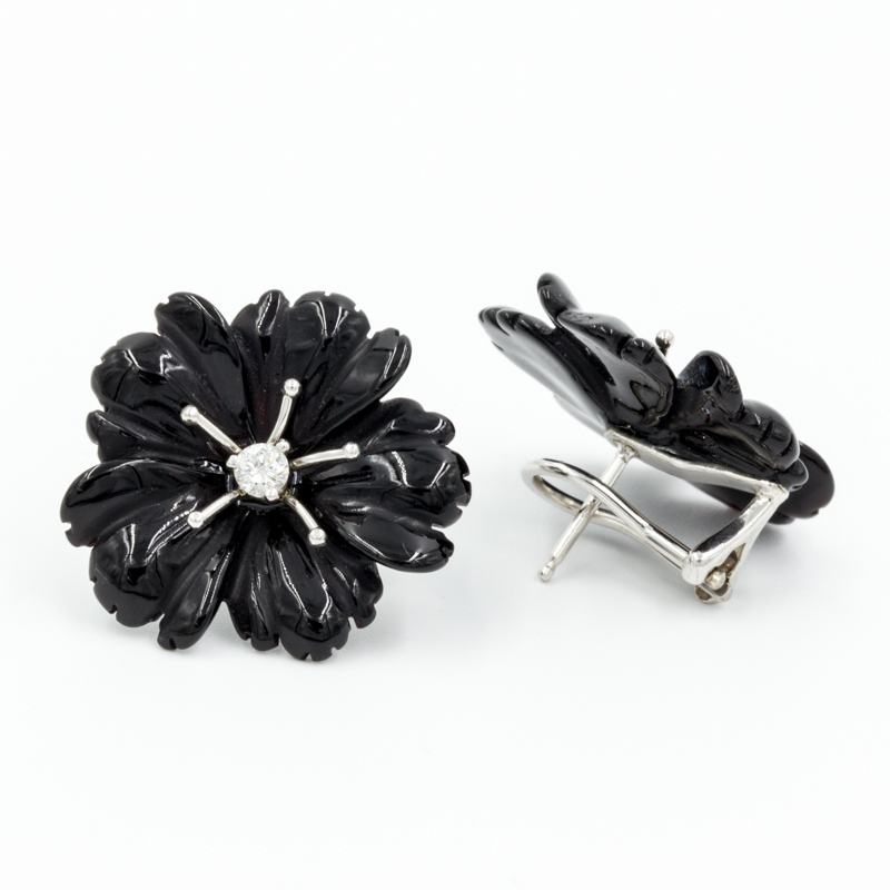 black onyx flower earrings back