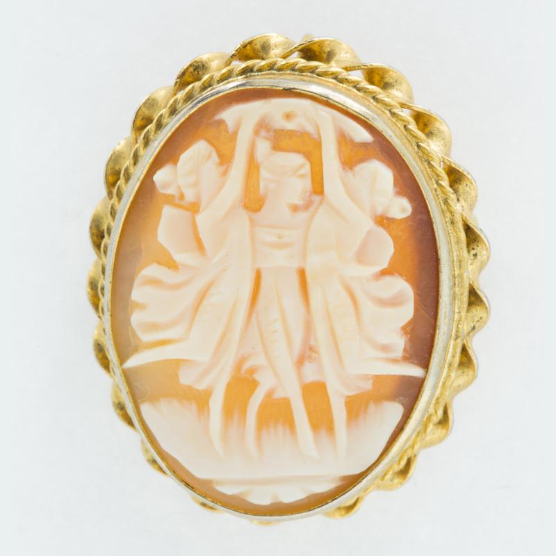 italian shell cameo pin